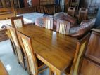 Teak dining table with 6 chairs 6x3 - tdtc800