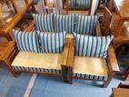 Teak Stripe Pillows Sofa 321 with Stool--TS1303