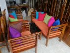 Teak Pillows Sofa Set 321 with Stool--TS3032