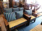 Teak Pillows Sofa Set with Glass Stool - TSSW1004