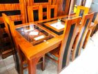 Teakwood dining table with 6 chairs 6x3 - Tdtwc1907