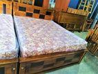 Teak Box Bed with Fox springirl Spring Mattress 60x72 - abc1401