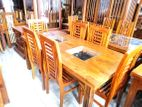 Teak dining table with 6 chairs 6x3 - Tstwc1304