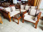 Teak Large Melon Sofa Set with glass Stool - tms1650