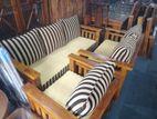 Teak Stripe Pillows Sofa Set 321 with Stool - TPSS505