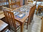 teak dining table with 6 chairs - tdtc207