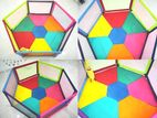 6 panel PlayPen with Mattress Multi Colour
