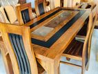Teak Modern Dining Table and 6 Chairs Code 770