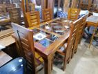 Teak Dinning Table with 6 Chairs--6x3--TDT1216