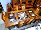 Teak star dining table with 6 chairs - tdtw2007