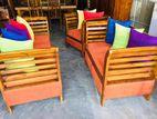 Teak Modern 321 Sofa Set With Glass Top Stool Code 1078