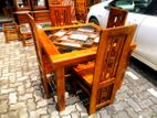 Teak Box Model dining table with 4 chairs - Tbdt2206