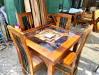 Teak dining table with 4 chairs 3x3 - tdtc900
