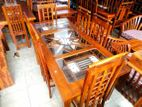 Teak dining table with 6 chairs 6x3 - tdc1005