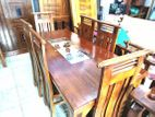 Teak dining table with 6 chairs 6x3 - tdtc2457