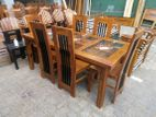 Teak dining table with 6 chairs 6x3 - tdtc2657