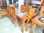 Teak dining table with 6 chairs 6x3 - tdtc706