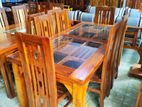 Teak dining table with 6 chairs - tdtc005