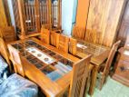 Teak dining table with 6 chairs - tdtx2456