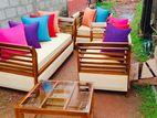 Teak Modern 321 pillows Sofa Set With Glass Top Stool Code 1073