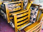 Teak Modern 321 Sofa Set With Glass Top Stool Code 1064
