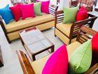 Teak Modern pillows Sofa Set With Glass Top Stool Code 1046